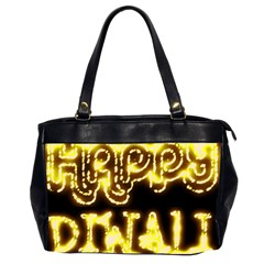 Happy Diwali Yellow Black Typography Office Handbags (2 Sides)  by yoursparklingshop