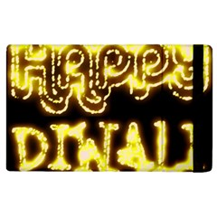 Happy Diwali Yellow Black Typography Apple Ipad 3/4 Flip Case by yoursparklingshop