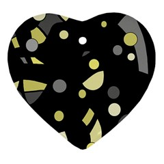 Yellow And Gray Abstract Art Heart Ornament (2 Sides) by Valentinaart