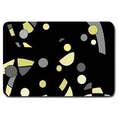 Yellow And Gray Abstract Art Large Doormat  by Valentinaart