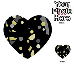 Yellow And Gray Abstract Art Multi Purpose Cards (heart)  by Valentinaart