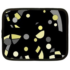 Yellow and gray abstract art Netbook Case (XXL)  by Valentinaart