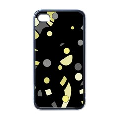 Yellow And Gray Abstract Art Apple Iphone 4 Case (black) by Valentinaart