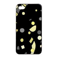 Yellow And Gray Abstract Art Apple Iphone 4/4s Seamless Case (black) by Valentinaart