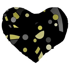 Yellow And Gray Abstract Art Large 19  Premium Heart Shape Cushions by Valentinaart