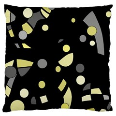 Yellow And Gray Abstract Art Large Flano Cushion Case (two Sides) by Valentinaart