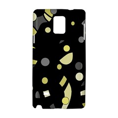 Yellow And Gray Abstract Art Samsung Galaxy Note 4 Hardshell Case by Valentinaart