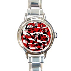 Red Chaos Round Italian Charm Watch by Valentinaart