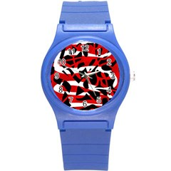 Red Chaos Round Plastic Sport Watch (s) by Valentinaart