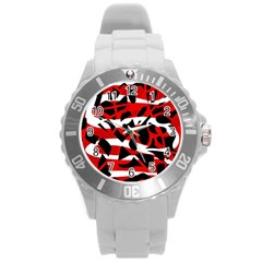 Red Chaos Round Plastic Sport Watch (l) by Valentinaart
