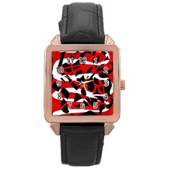 Red Chaos Rose Gold Leather Watch  by Valentinaart