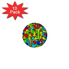 Colorful Chaos 1  Mini Buttons (10 Pack)  by Valentinaart