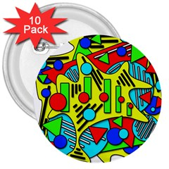 Colorful Chaos 3  Buttons (10 Pack)  by Valentinaart