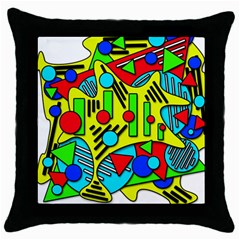 Colorful Chaos Throw Pillow Case (black) by Valentinaart