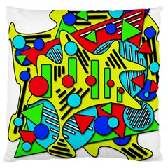 Colorful Chaos Large Cushion Case (two Sides) by Valentinaart