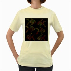 Decorative Fish Pattern Women s Yellow T Shirt by Valentinaart