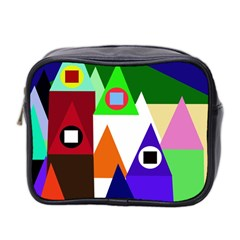 Colorful Houses  Mini Toiletries Bag 2 Side by Valentinaart