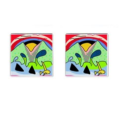 Colorful Landscape Cufflinks (square) by Valentinaart