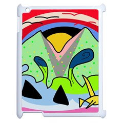 Colorful Landscape Apple Ipad 2 Case (white) by Valentinaart