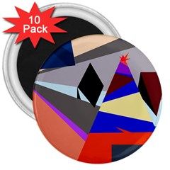 Geometrical Abstract Design 3  Magnets (10 Pack)  by Valentinaart