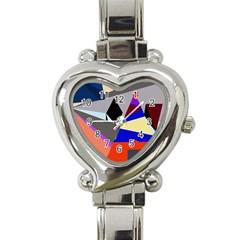 Geometrical Abstract Design Heart Italian Charm Watch by Valentinaart