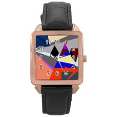 Geometrical Abstract Design Rose Gold Leather Watch  by Valentinaart