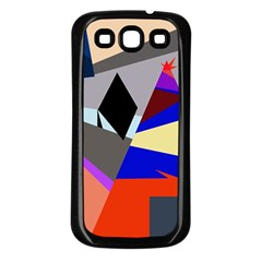 Geometrical Abstract Design Samsung Galaxy S3 Back Case (black) by Valentinaart