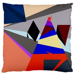 Geometrical Abstract Design Large Flano Cushion Case (two Sides) by Valentinaart
