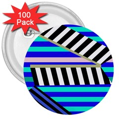Blue Lines Decor 3  Buttons (100 Pack)  by Valentinaart