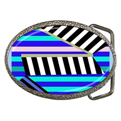 Blue Lines Decor Belt Buckles by Valentinaart