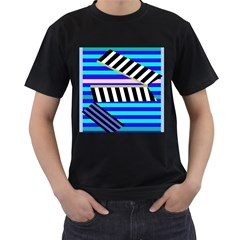 Blue lines decor Men s T-Shirt (Black) (Two Sided)
