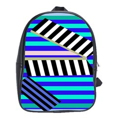 Blue Lines Decor School Bags(large)  by Valentinaart