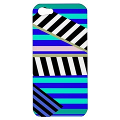 Blue Lines Decor Apple Iphone 5 Hardshell Case by Valentinaart