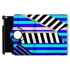 Blue Lines Decor Apple Ipad 2 Flip 360 Case by Valentinaart