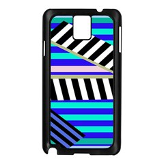 Blue Lines Decor Samsung Galaxy Note 3 N9005 Case (black) by Valentinaart