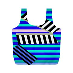 Blue Lines Decor Full Print Recycle Bags (m)  by Valentinaart