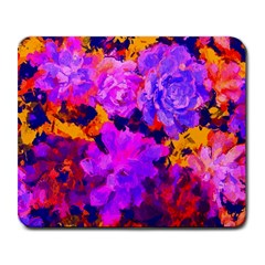 Purple Painted Floral And Succulents Large Mouse Pad (rectangle) by LisaGuenDesign