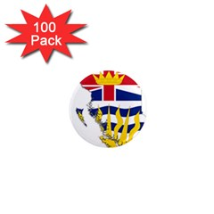 Flag Map Of British Columbia 1  Mini Magnets (100 Pack)  by abbeyz71