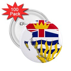 Flag Map Of British Columbia 2 25  Buttons (100 Pack)  by abbeyz71