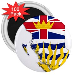 Flag Map Of British Columbia 3  Magnets (100 Pack) by abbeyz71