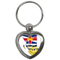 Flag Map Of British Columbia Key Chains (heart)  by abbeyz71