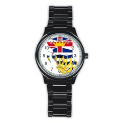 Flag Map Of British Columbia Stainless Steel Round Watch by abbeyz71