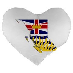 Flag Map Of British Columbia Large 19  Premium Flano Heart Shape Cushions by abbeyz71