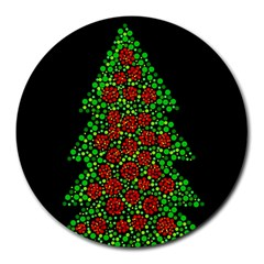 Sparkling Christmas Tree Round Mousepads by Valentinaart