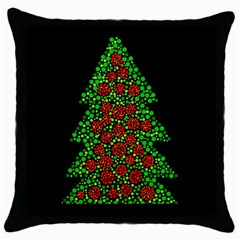 Sparkling Christmas Tree Throw Pillow Case (black) by Valentinaart