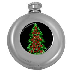 Sparkling Christmas Tree Round Hip Flask (5 Oz) by Valentinaart