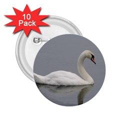 Swimming White Swan 2 25  Buttons (10 Pack)  by picsaspassion