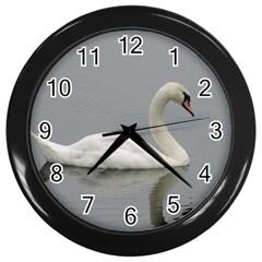 Swimming white Swan Wall Clocks (Black) by picsaspassion
