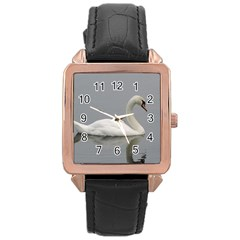 Swimming White Swan Rose Gold Leather Watch  by picsaspassion
