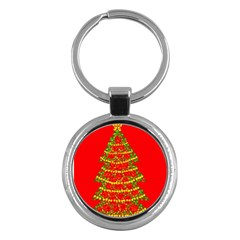 Sparkling Christmas Tree   Red Key Chains (round)  by Valentinaart